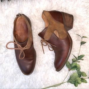 Born Brown Leather/Suede Cut Out Booties